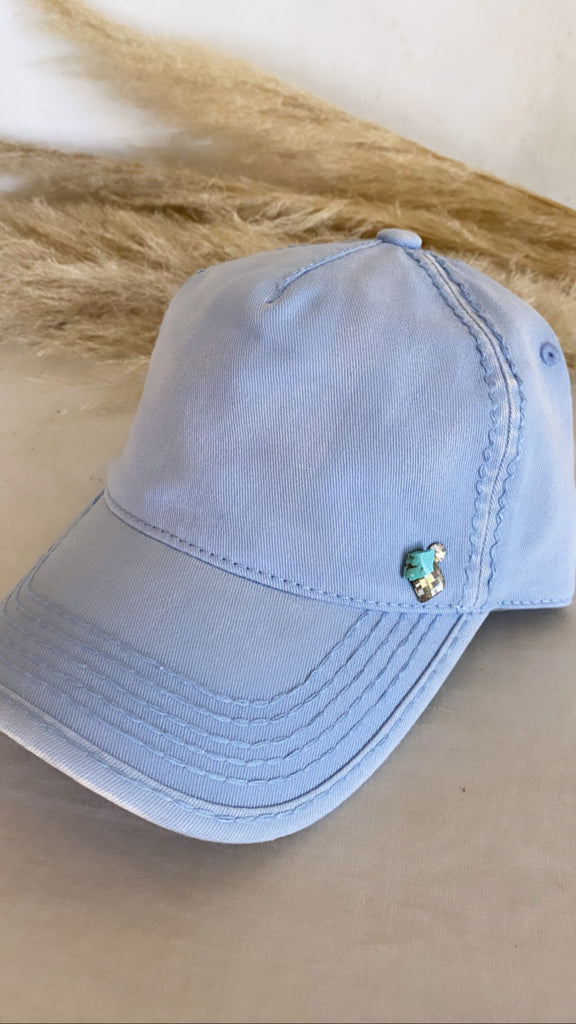 NEW! Washed Cotton Blue Ball Cap w/ Turquoise - Glitzy Bella