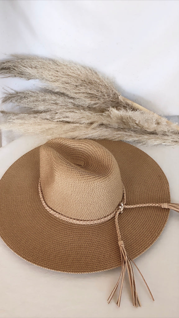 The Parker Braided Tassel Hat in Tan