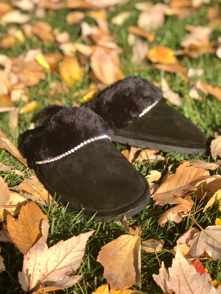 "Black ""Scuff"" Suede & Faux Fur Slipper"