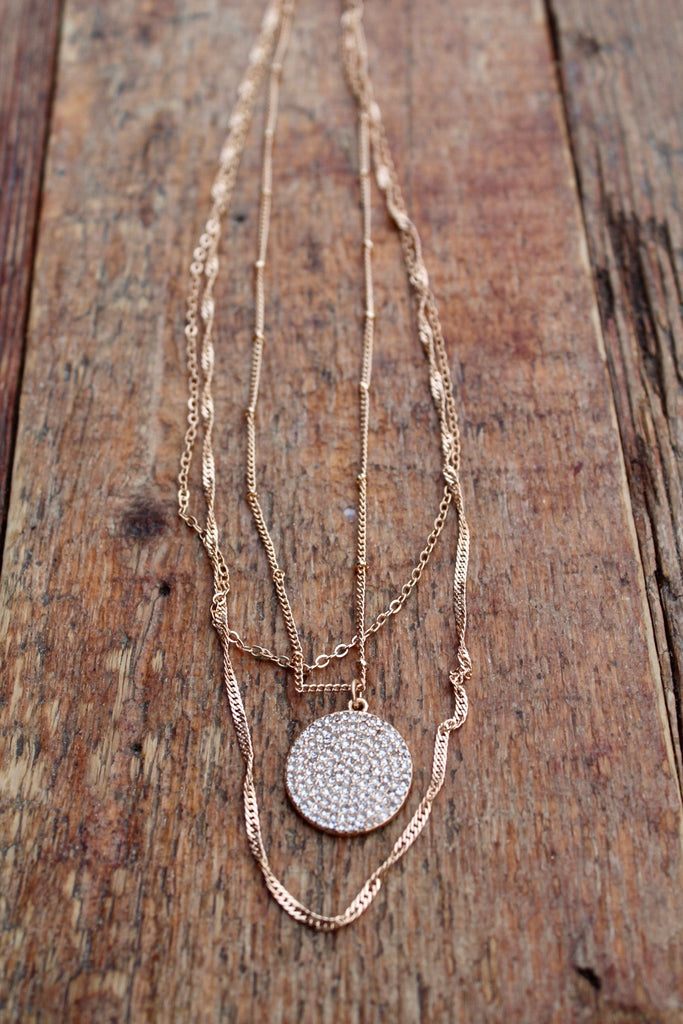 Pave' Circle Multistrand Necklace - Glitzy Bella