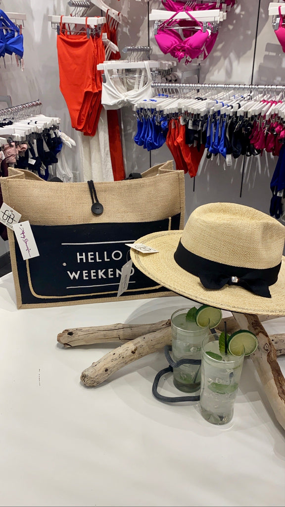 """HELLO WEEKEND"" Jute Tote Bag"