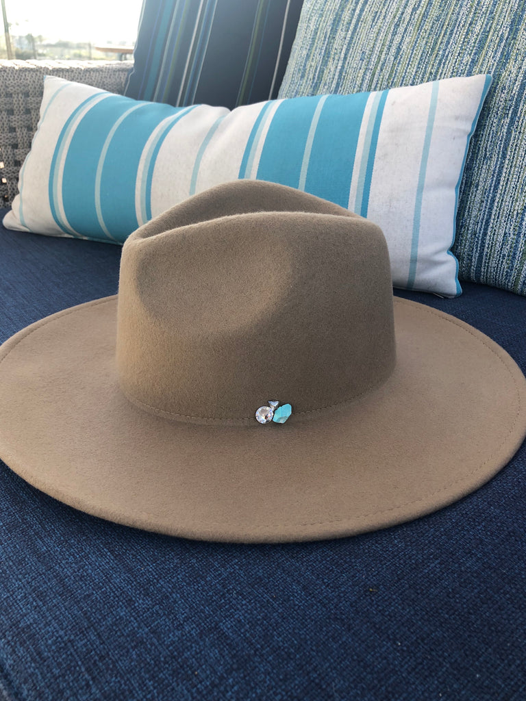 The Cameron Turquoise and Crystal Panama Hat