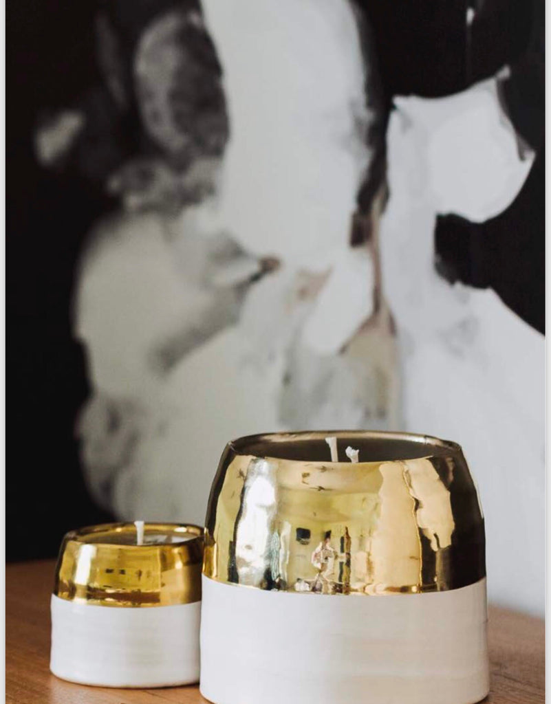 White & Gold Crystallized Ceramic Hand Poured Soy Candle