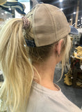 NEW!!  Washed Cotton Criss Cross Ponytail Ball Cap in Black