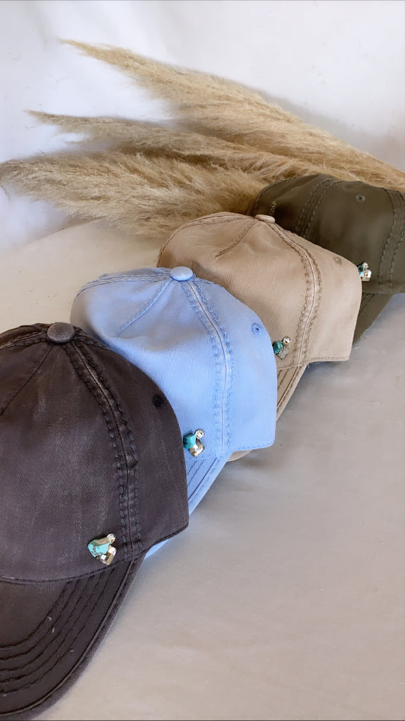 IN STOCK! Washed Cotton Grey Ball Cap w/ Turquoise - Glitzy Bella