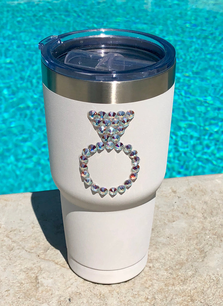 "Crystallized ""Wedding Ring"" Tru Flask 30 oz. Rambler - Glitzy Bella"