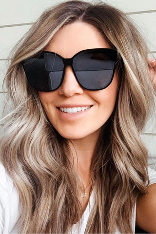 """Gia"" Black Oversized Sunglasses"