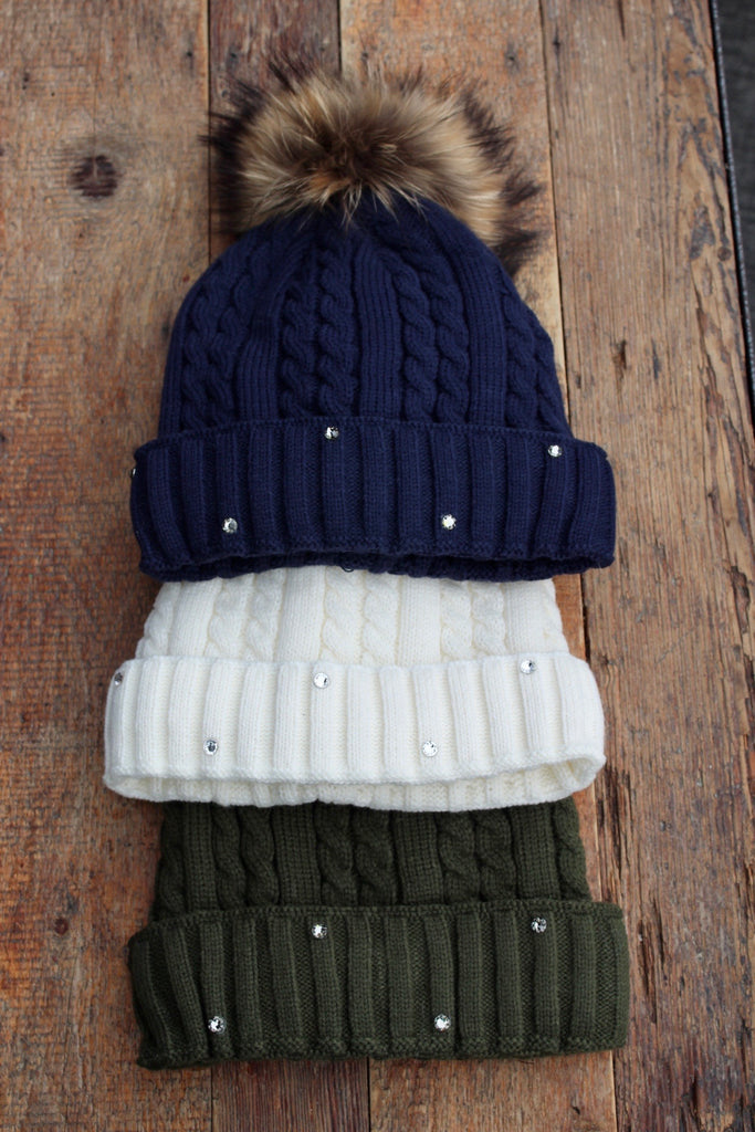 Lined Cable Knit Beanie with Genuine Fox Pom