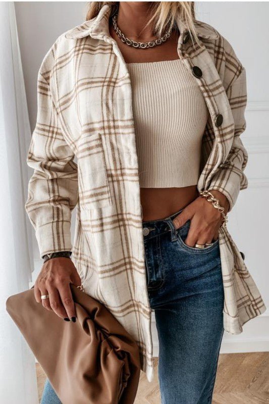 IN STOCK!! The Rocky Mountain Brown/Cream Plaid Shirt Jacket