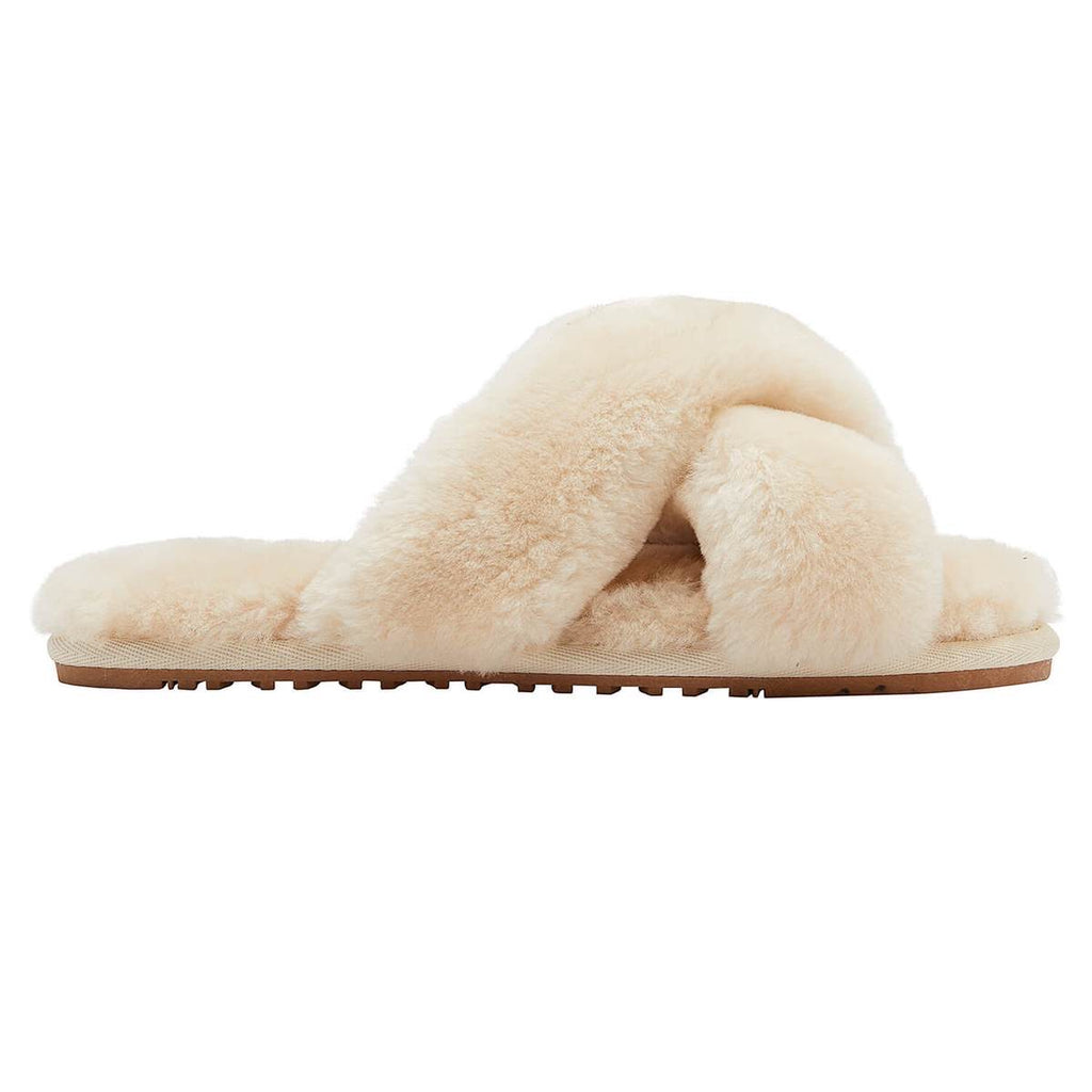Cozette Sheepskin Slipper in Cream - Glitzy Bella