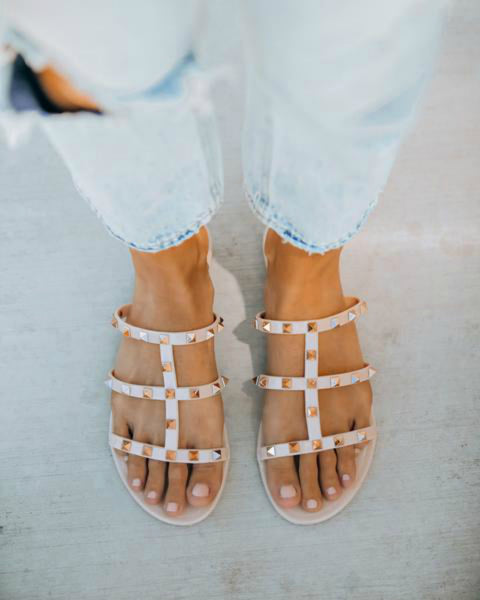 """AS SEEN ON MICHELLE from VB!!"" Nude Gladiator Gold Studded Sandal"