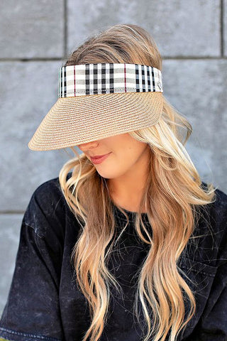 NEW!  Plaid Chic Adjustable Visor in 2 Colors