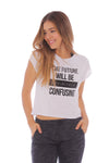 Camiseta At Home Blanca Con Estampado - Mujer