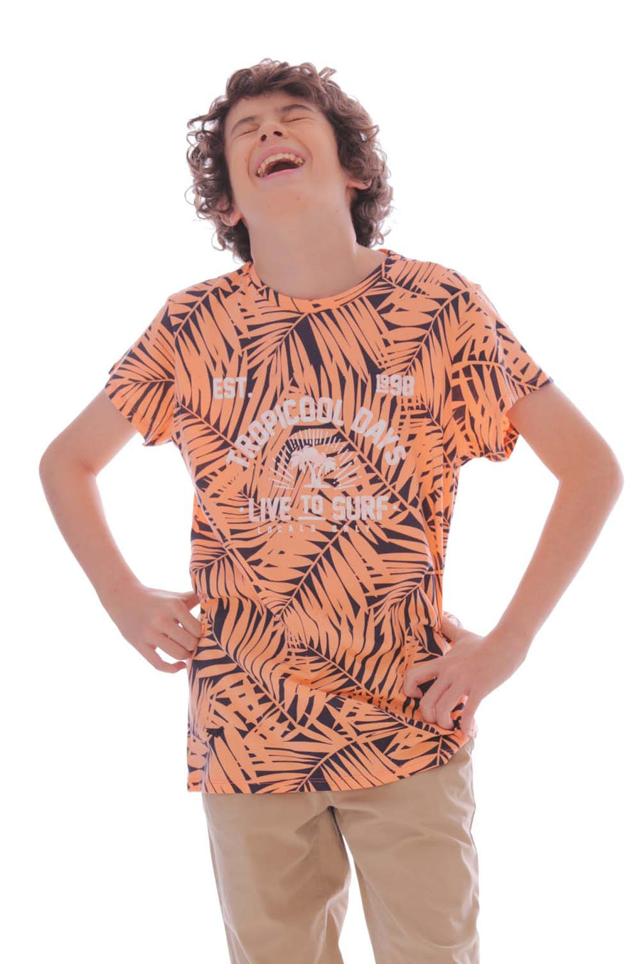 CAMISETA BLANCA TROPICAL ESTAMPADA PARA JUNIOR MASCULINO 100218-00
