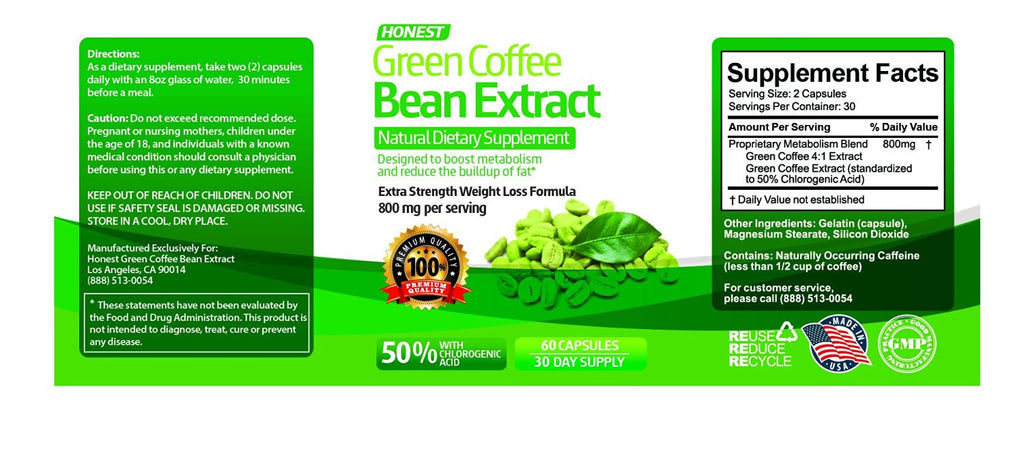 Honest Green Coffee Bean Extract Reduce Body Weight Weight
