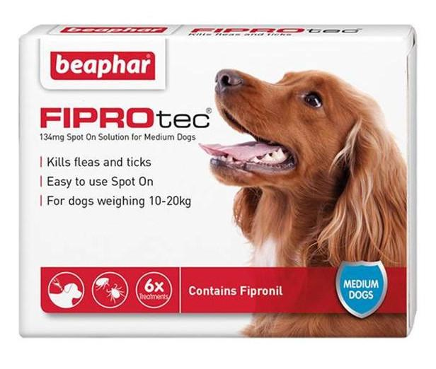 Beaphar Fiprotec Flea and Tick Spot On For Dogs 6 pack