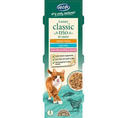 Hilife Its Only Natural Cat Can Multipack Luxury Classic Trio In Sauce 3x70g (6pk)