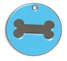 Blue Enamel Bone Dog Engravable ID Tag