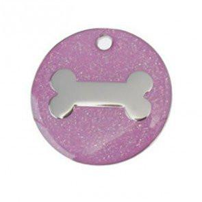 Pink Glitter Bone Dog Engravable ID Tag