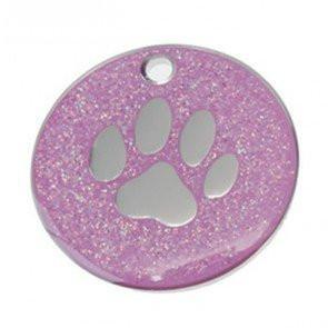 Pink Glitter Paw Dog Engravable ID Tag