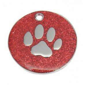 Red Glitter Paw Dog Engravable ID Tag