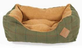 Tweed Green Snuggle Dog Bed