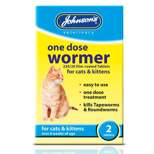 Johnsons Cat One Dose Wormer 2 Tablets