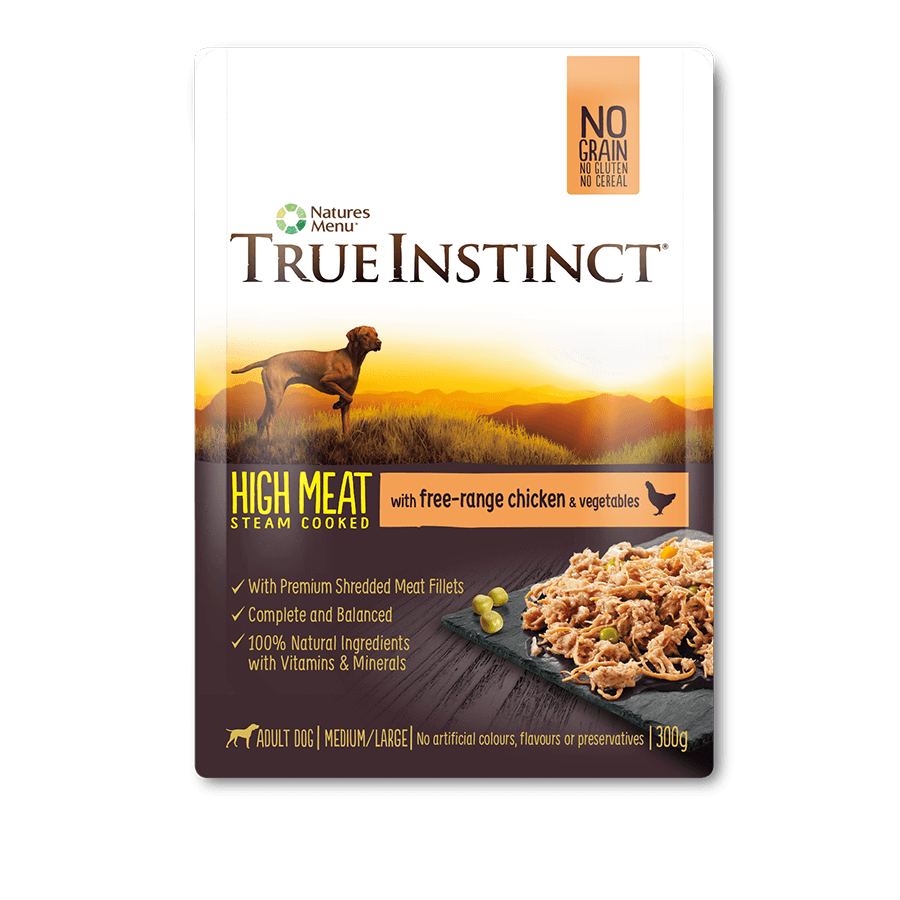 True Instinct High Meat Fillet Wet Pouch -  Free Range Chicken For Dogs 300g x 8pk