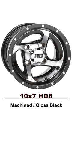 "10"" HD8  Machine And Black Wheel On Street Tire"