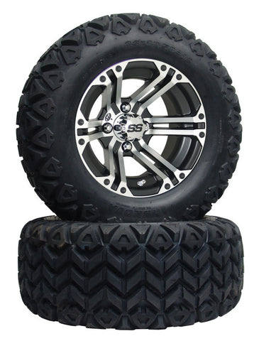 "12"" 212 Black/Machined Wheel on All Terrain Tire"