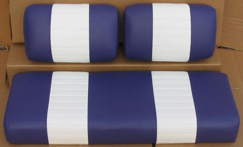 EZGO - Vinyl Seat Covers - White w/ Blue Pleats