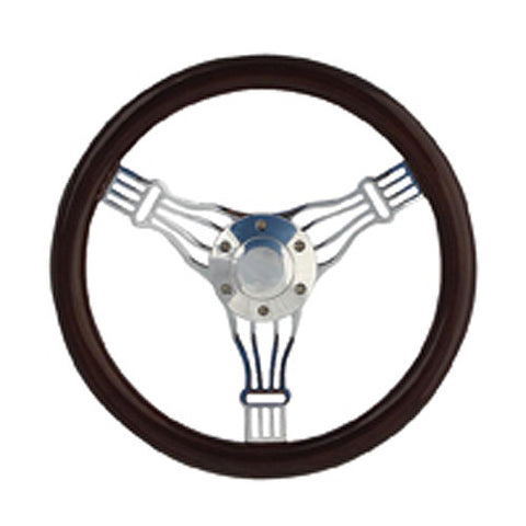"14"" Real Wood With Chrome Banjo Classic Steel Steering Wheel"
