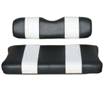 E-Z-GO Black W/ White Pleats Vinyl Seat Covers