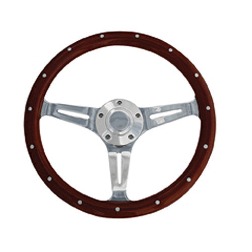 "14"" Euro Steering Wheel Real Wood Rim With Chrome Spokes"