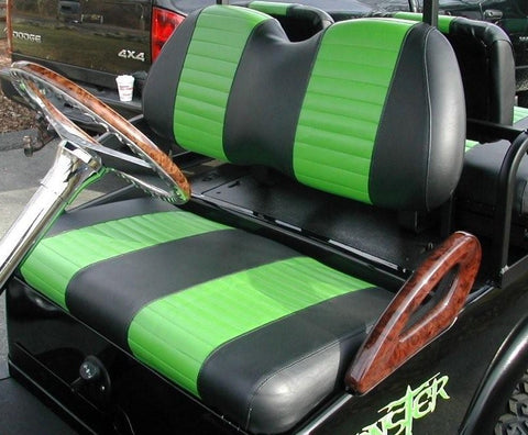 EZGO - Vinyl Seat Covers - Green w/ Black Pleats