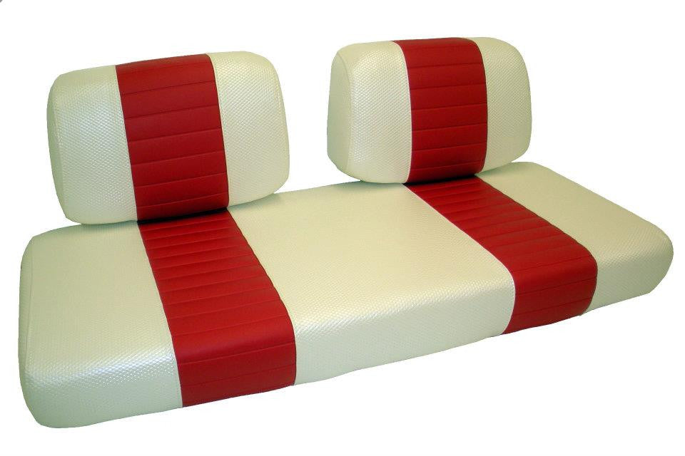 EZGO - Vinyl Seat Covers - White W/ Red Pleats