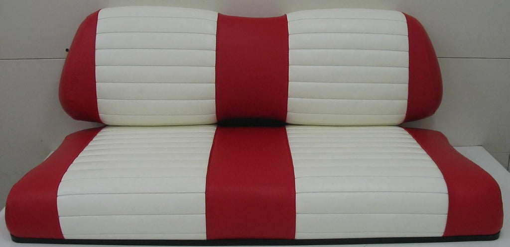 Club Car Red W/ White Pleats Vinyl Seat Covers