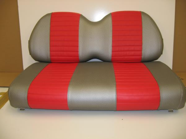 Club Car Vinyl Seat Covers - Liquid Silver Wave Texture w/ Red Pleated Stripes