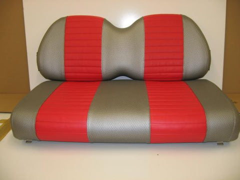 EZGO - Vinyl Seat Covers - Liquid Silver Wave Texture w/ Red Pleated Stripes