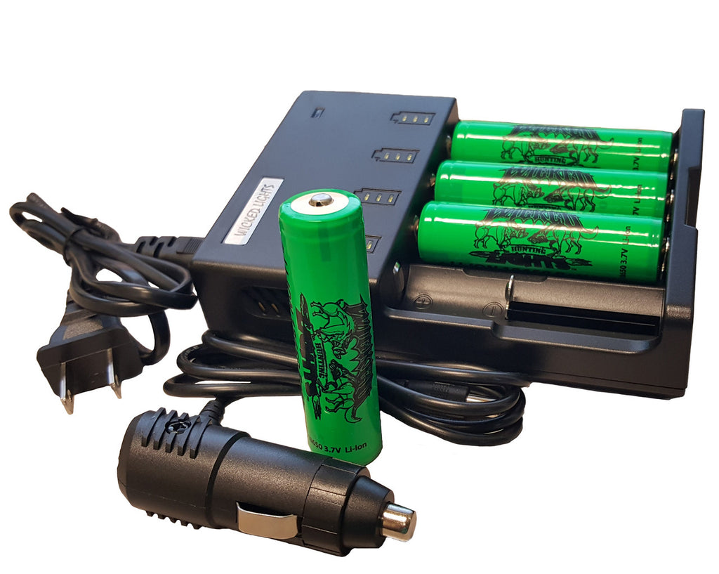 Wicked Hunting Lights Universal 4 Position Li Ion Charger And Lithium Battery Pack