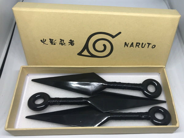 Naruto Kunai 3 Pcs Anime Cosplay Plastic Ninja Costume Knifes Weapon - Black