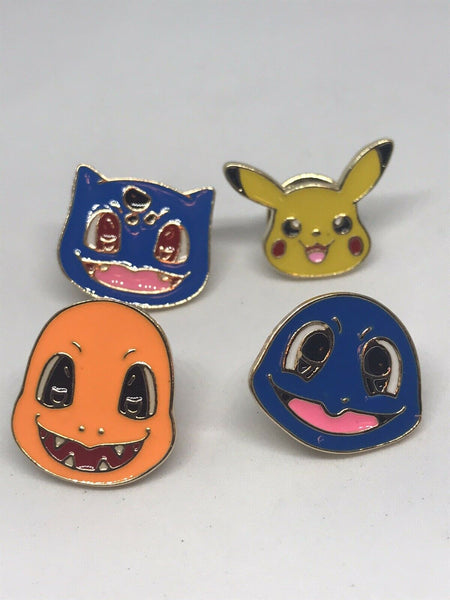 4 pins set POKEMON Pikachu, Charmander, Squirtle, Bulbasaur Clutch Back Lot
