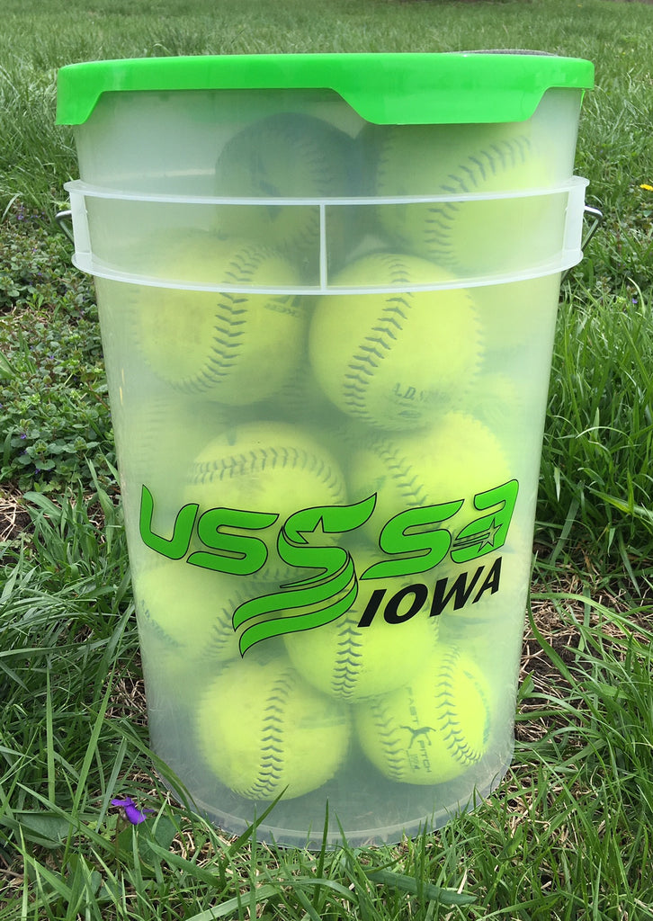 USED SOFTBALL'S WITH BUCKET