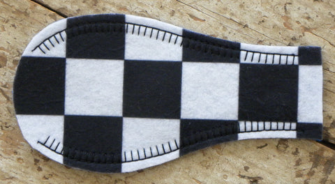 Printed Eye Patch - Checkers (Black & White)