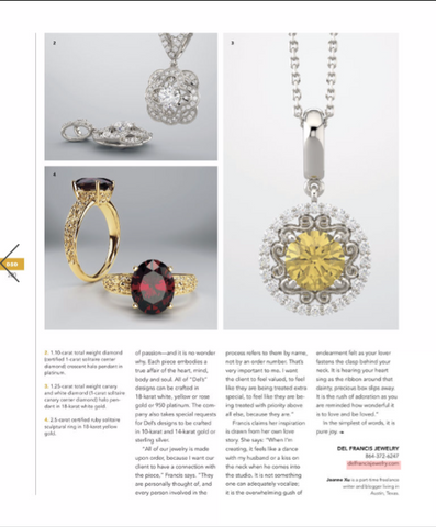 Del Francis Jewelry Feature Editorial in Dallas Style & Design Magazine