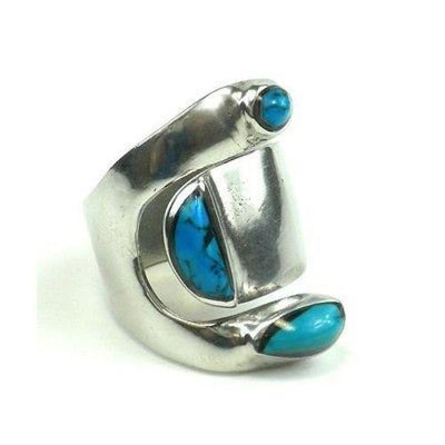 Turquoise and Alpaca Silver Wrap Ring Handmade and Fair Trade