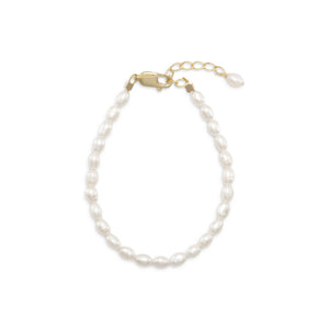 "5""+1"" 14/20 Gold Filled Cultured Freshwater Rice Pearl Bracelet"