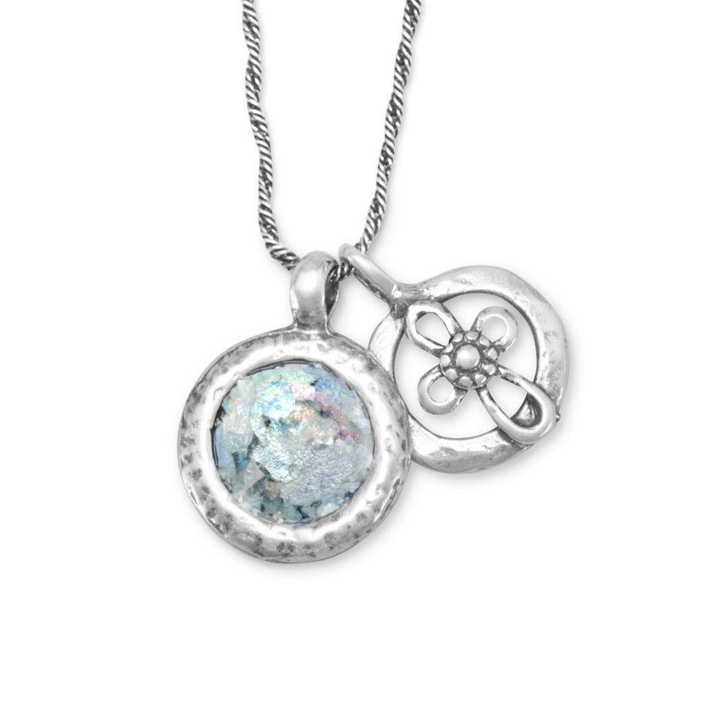 14.0mm Round Roman Glass and Cross Charm Set Necklace in Sterling Silver