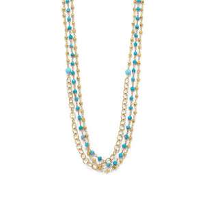 Triple Strand 14 Karat Gold Plated Multistone Necklace