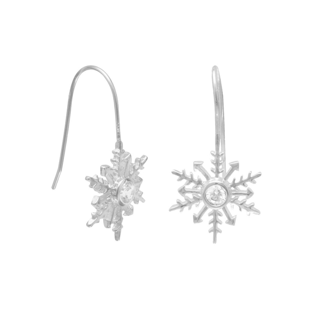 Polished CZ Snowflake Earrings on French Wire